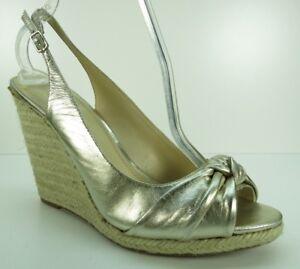 Enzo-Angiolini-Gold-Leather-Slingback-Wedge-Platform-Sandals-Pumps-Heels-10
