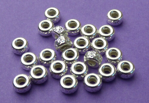 4mm 925 Sterling Silver pyramid cut Rondelle Roundel Spacer Beads 12pcs.