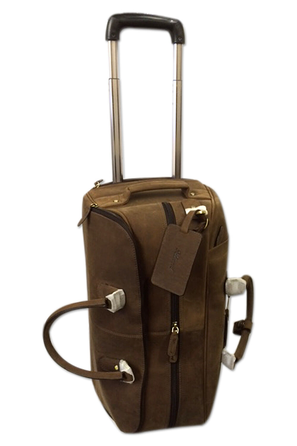 Real cuir voyage Holdall on Wtalons & Trolley handle Albert - Mud colour