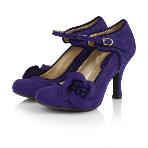 Ruby Shoo Belle Divino Ltd Edition Anna Lace Bar Shoe Royal Purple UK2-9 EU35-42