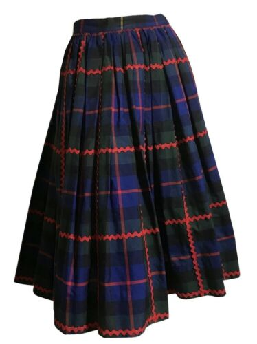 True Vintage Lanz Plaid Skirt With Big Red Ric Rac