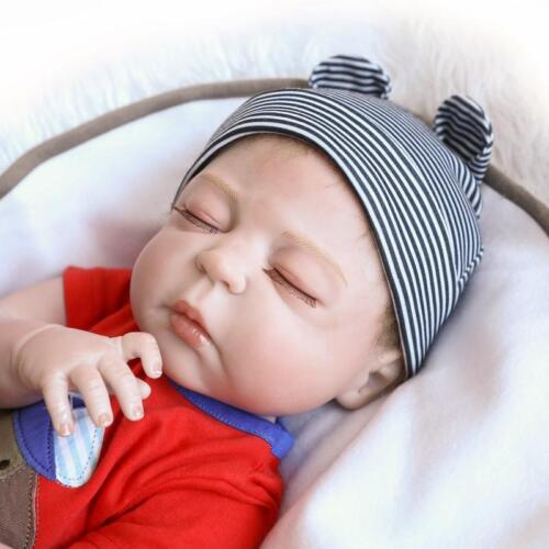 """23/"""" Full Body Silicone Boy Doll Reborn Realistic Baby Toy Lovely Sleeping Bebes"""