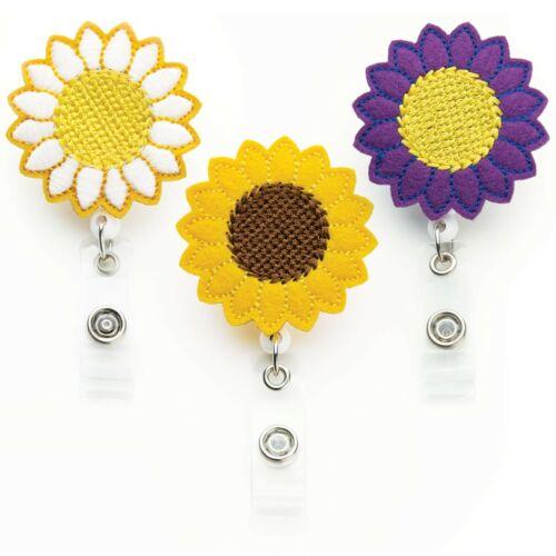 Flower Badge Reels Great Teacher Gifts Sunflower Badge Holders 3 Pack
