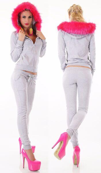 Damen Jogginganzug Hausanzug Sport Fitness Kapuze Webpelz pink Jacke Hose grau