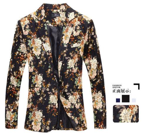 Chic Mens Leisure Printed Flower Blazes Fashion Designer Jackets Casual Coat New