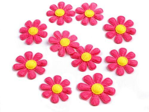 10 Aufnäher in Blütenform 2,7 cm pink ca 0,14€//1Stk