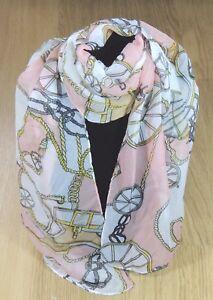 Women-039-s-Scarf-Gold-Chain-Print-Soft-Chiffon-Pink-White-Scarf