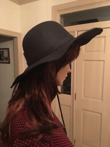 Horse Hair Tassels New Wide Brim Hat Details about  /Black Felt Leather Stampede String