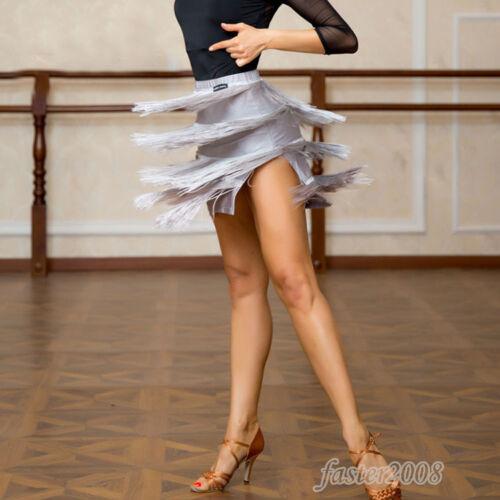 Womens Tassel Dancewear Performance Skirts Latin Rumba Cha-cha Samba Dance Dress