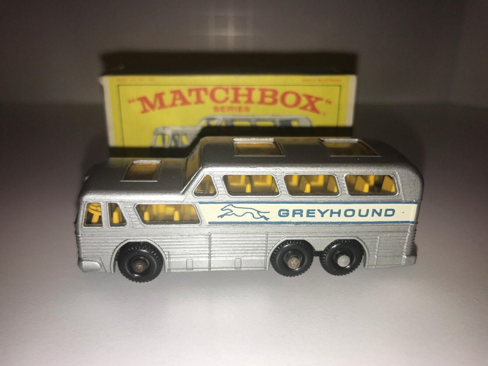 VINTAGE  LESNEY MATCHBOX Nº 66 BUS grisHOUND boîte d'origine  bonne qualité