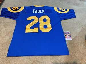 quality design 2d030 ae94d Details about MARSHALL FAULK AUTOGRAPHED/SIGNED INSCRIBED ST. LOUIS RAMS  THROWBACK JERSEY JSA