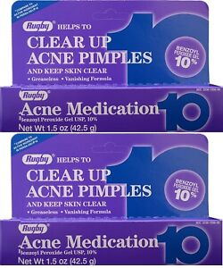 Rugby Acne Medication Gel Benzoyl Peroxide 10% 1.5 oz Wondra Refreshing Facial Cleansing Wipes 40 ct