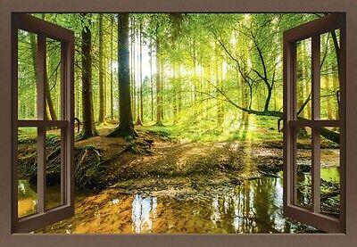 Sonnenstrahlen im Wald 3 Bilder auf Leinwand Wandbild Edel Poster Bild