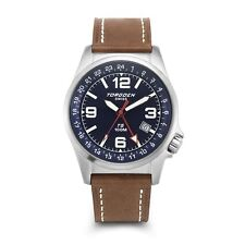 New Torgoen Swiss T05 Men's Blue Face 42mm Case Pilot Quartz GMT Watch T05108
