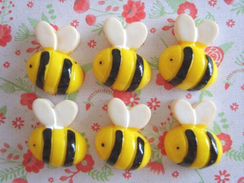 6 x Little Busy Bees Flatback Resin Embellishment Crafts Decoden Cabochon UK