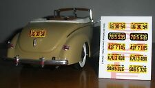1940 s CALIFORNIA miniature LICENSE PLATES for 1/25 scale MODEL CARS