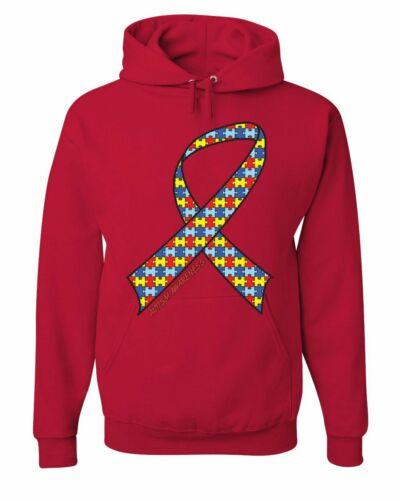 Autism Awareness Ribbon Hoodie Support Care Love ASD Asperger Sweatshirt
