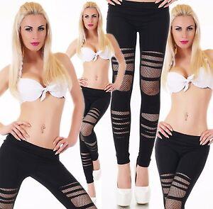 Women-039-s-Leggings-Trousers-Dance-Pants-Skinny-Fit-Ripped-Net-Leggings-8-10-12