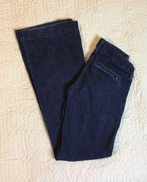 Lucky Brand Blue Jeans Women Size 00, 28 Waist Dark Trouser Flare Leg Low Rise