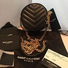 New With Tags! Saint Laurent/YSL Black Chevron Quilted Circle Shoulder Bag