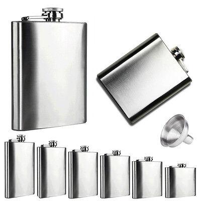 Stainless Steel Screw Cap 2-18 OZ Flask Liquor Whiskey Alcohol Bottle Funnel Q