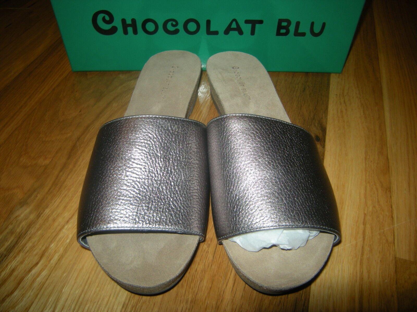 Nueva marca Chocolat azul Viveca Gunmetal Sandalia De Cuero, Tamaño 8