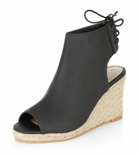 Espadrille Wedges Black Size Leather look Brand 5 Peep Look New Toe Sq7xFwgwZ