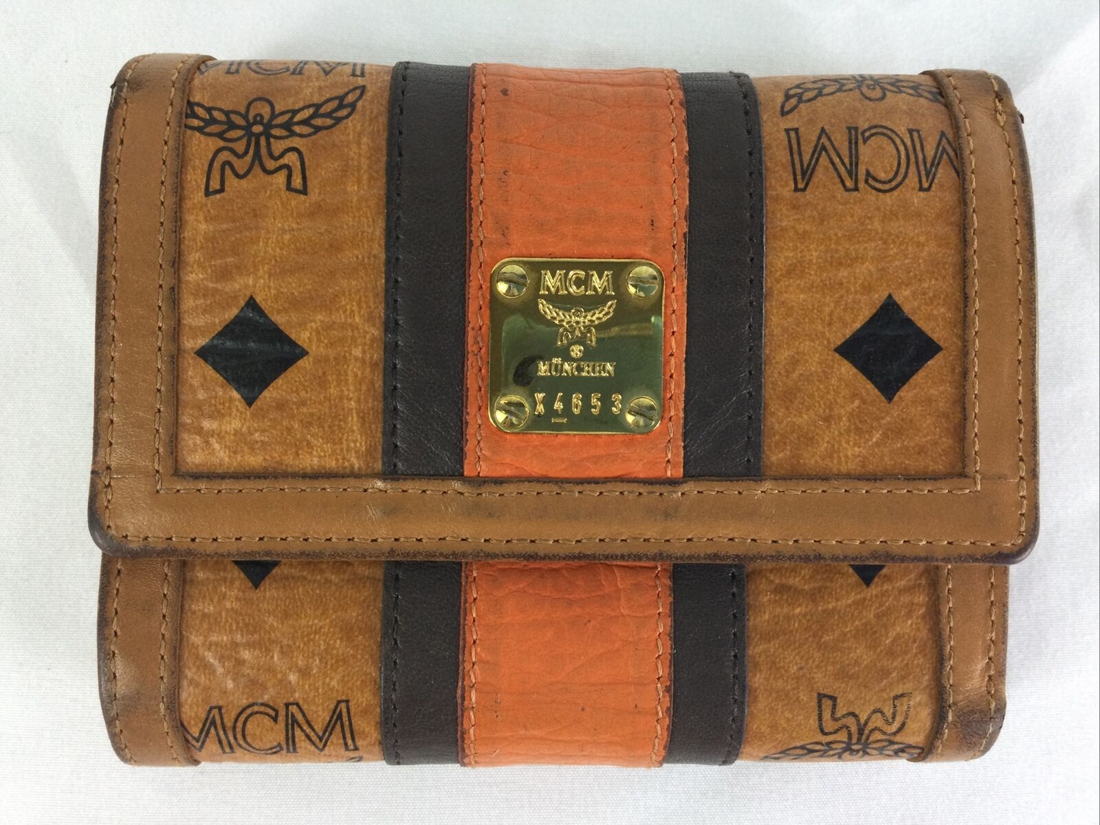 MCM Logo Monogram Visetos Orange Stripe Leather Cognac Wallet