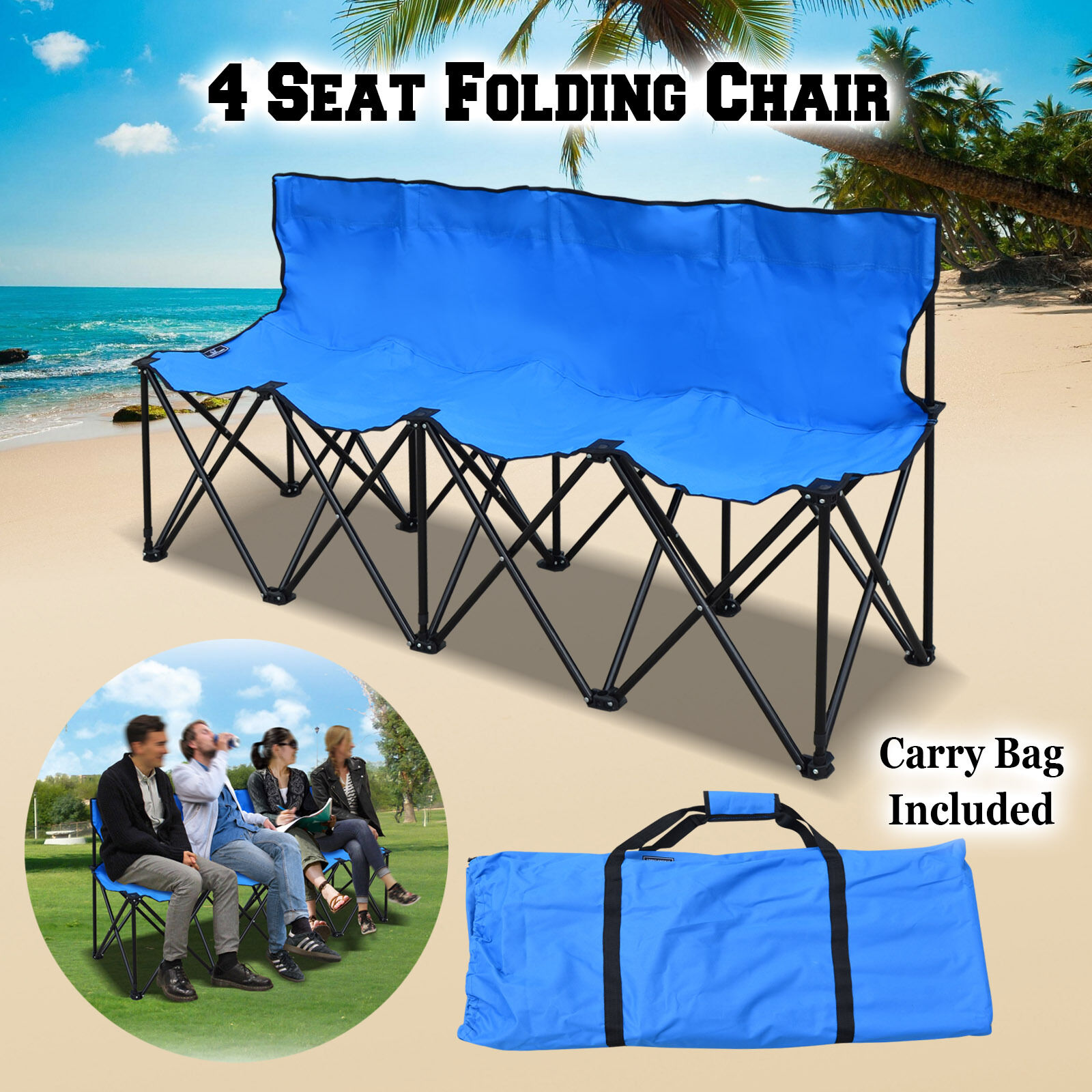 New Folding Portable  4 Seater Team Sports Sideline Bench Outdoor w Carrybag  free and fast delivery available