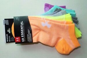 f34191173fdf5 Under Armour Women's Essential No Show Socks 6 Pack Medium Neon ...