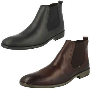 hommes-Base-London-Safran-Noir-ou-marron-cuir-cire-elegant-bottes-chelsea