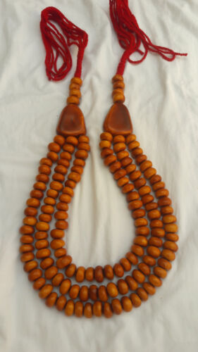 Moroccan Berber Amber necklace Traditional African Resin Beads 3 Strands Jewelry