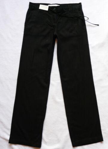 BNWT NEXT  black linen blend summer holiday parallel relaxed leg trousers R P
