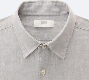 3194aca0cc5 UNIQLO Men s 100% Premium French Linen Long-Sleeve Shirt LARGE Gray ...
