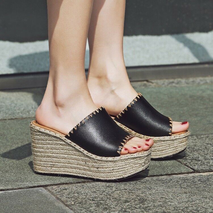 Women Peep Toe Mule Slipper Flip Flop Platform Wedge Heel shoes Sandal Size New