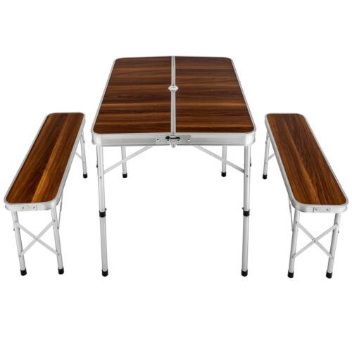 Koffertisch mit 2 Sitzbänke Set Klapptisch Campingtisch Sitzgruppe Aluminium