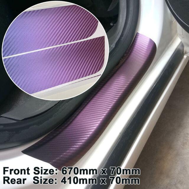 1Set Carbon Fiber Vinyl Decal Door Sill Chameleon Protect Sticker NI J