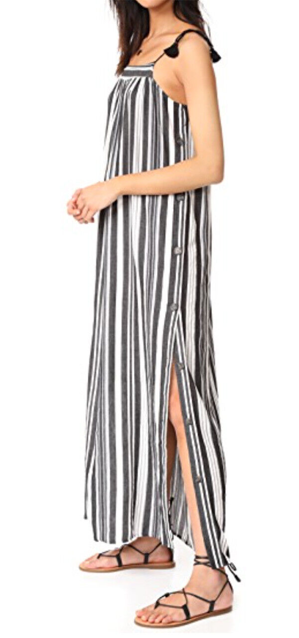 Madewell Striped Side Button Maxi Dress  Sz O XS Orig 148