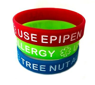 Kids Youth Tree Nut Allergy Use Epipen Silicone Bracelet