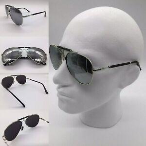 Men's Silver Mirror Lenses Leather Brow Bar Pilot Sunglasses