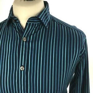 Marks-amp-Spencer-Autograph-Shirt-Medium-Casual-Button-Cuff-L-Sleeve-Blue-Stripe