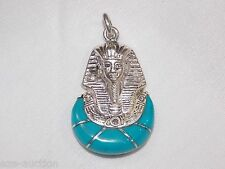 Egyptian Silver Stamped Blue Enameld  King Tut Ankh Amon Mask Pendant USA Seller