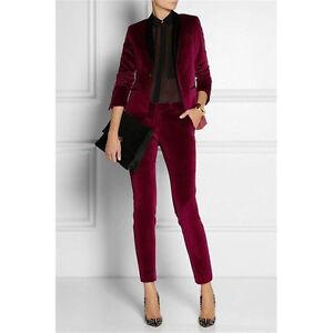 ea14c284198 Image is loading NEW-Burgundy-Womens-Business-Suits-Ladies-Elegant-Pant-