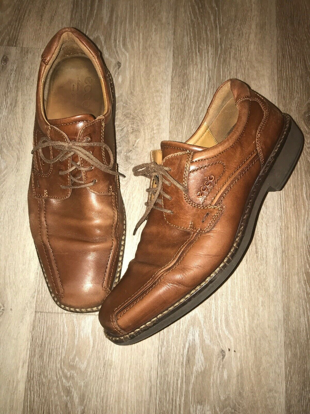 Ecco Oxford Brown Leather Mens Size 10.5US 44EUR