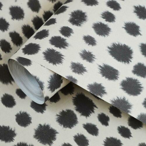 Tribal Dotted Spots Wallpaper Grey White Dalmatian Mono Print Speckle Polka Dots
