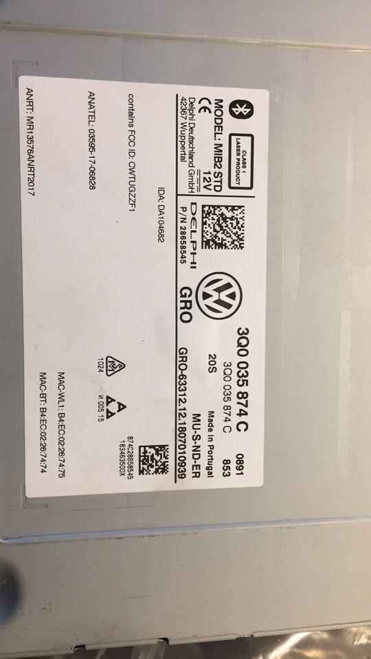 Multimedia system, VW Har siddet i en tiguan 2018