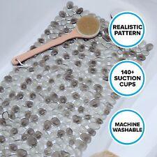 Gray Pebble Bath Mat with Suction Cups: Slip-Resistant Bathtub Mat