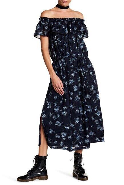 NWT Current Elliott Navy Blau Floral Off Shoulder Maxi Dress Größe 2 Ruffle