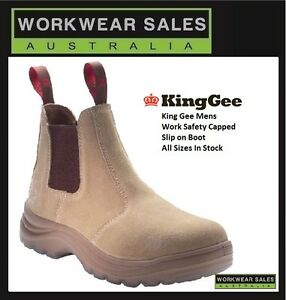 1b083528fd5 Details about King Gee Mens Flinders Suede Slip on Work Boots K25180.  Workboots steel cap