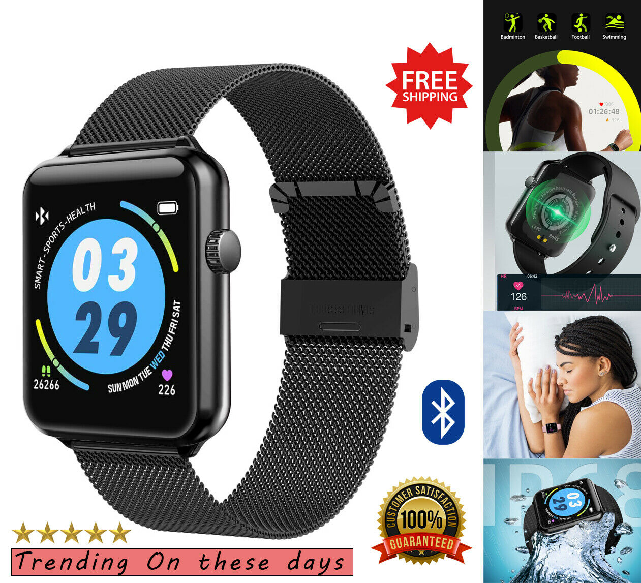 Smart Watch for iPhone iOS Samsung Android Fitness Tracker Heart Rate Monitor🔥